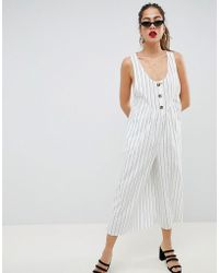 ASOS Jumpsuit With Button Front Detail - White