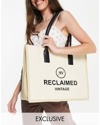 Reclaimed (vintage) Inspired Canvas Tote Bag With Logo-brown