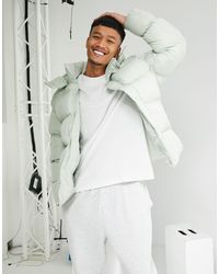 ASOS Sustainable Puffer Jacket With Detachable Hood - Green