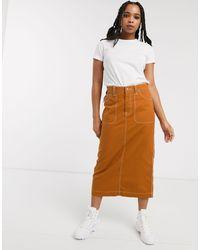 Dr. Denim Contrast Stitch Detail Midi Skirt-tan - Brown