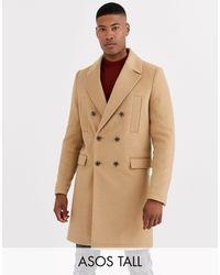 ASOS Tall – Doppelreihiger Mantel aus Wollmischung - Natur