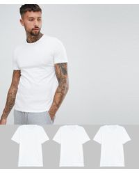 BOSS - By Hugo Crew T-shirt 3 Pack In Regular Fit White - Lyst