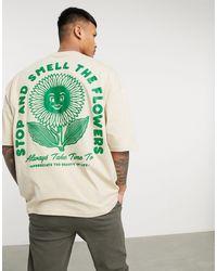 ASOS Светло-бежевая Oversized-футболка С Принтом В Виде Цветка На Спине - Естественный