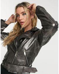 Bolongaro Trevor Savanna Leather Biker Jacket - Metallic