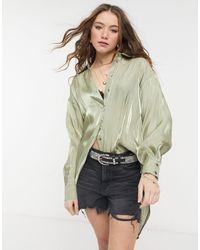 TOPSHOP Атласная Рубашка В Стиле Oversized Шалфейно-зеленого Цвета -зеленый Цвет