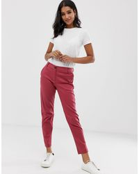 Vila Cropped Kick Flare Chinos - Red