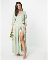 Y.A.S Длинное Шалфейно-зеленое Платье Подружки Невесты На Запахе С Вырезом На Спине Bridesmaid-голубой - Синий
