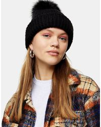 TOPSHOP - Recycled Bobble Hat With Faux Fur Pom Pom - Lyst