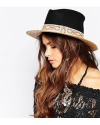 Catarzi | Straw Hat With Contrast Black Crown And Patterned Band | Lyst