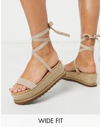 ASOS Wide Fit Winnie Tie Leg Espadrille Flatforms - Natural