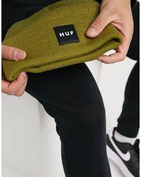 Huf Essentials - Berretto con logo quadrato verde militare - Nero