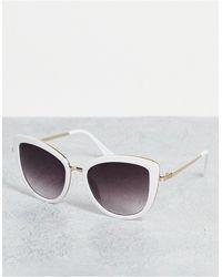ALDO Puthiel Metal Arm Oversized Cat Eye Sunglasses - White
