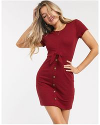 Abercrombie & Fitch Button Detail Cosy Dress - Red