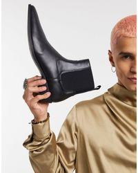 ASOS Cuban Heel Western Vegan Chelsea Boots - Black