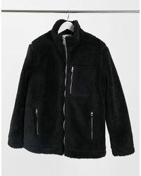 TOPMAN Черная Куртка Из Искусственного Меха -черный