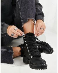 Steve Madden Fateful Chunky Ankle Boot With Stud Detail - Black