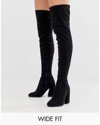 ASOS Brede Pasvorm - Korey - Dijhoge Laarzen Met Hak - Zwart