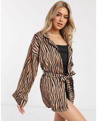 Missguided Атласный Халат С Тигровым Принтом -коричневый