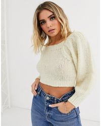 ASOS Crop Off Shoulder Sweater - Multicolour
