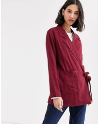 Native Youth Wrap Front Blazer - Red