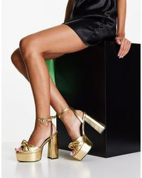 ASOS Note Knotted Platform Heeled Sandals - Metallic