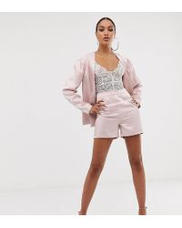 UNIQUE21 High Shine High Waist Shorts Co-ord - Pink