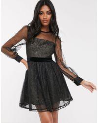 Fashion Union Robe courte en tulle transparent avec manches évasées et effet floqué - Doré - Noir