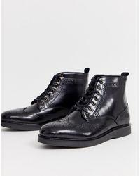 H by Hudson - Черные Блестящие Ботинки-броги Calverston-черный - Lyst