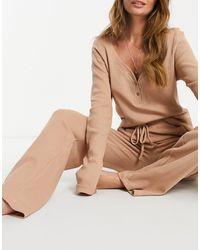 Missguided Бежевый Комплект Одежды Для Дома -neutral - Естественный