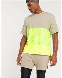 ASOS 4505 Oversize-футболка С Неоновыми Вставками И Асимметричными Краями -мульти - Желтый
