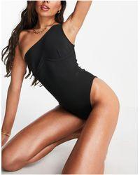 Public Desire One Shoulder Underwire Bandage Swimsuit - Black
