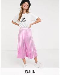 Miss Selfridge Petite Pleated Midi Skirt - Pink