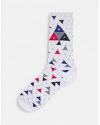 Huf Triple Triangle Pattern Sock - White