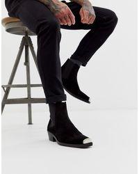 ASOS Cuban Heel Western Chelsea Boots In Black Suede With Metal Hardware