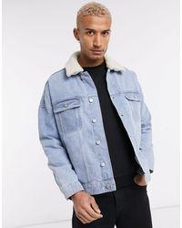 ASOS Oversized Denim Jacket With Detachable Borg Collar - Blue