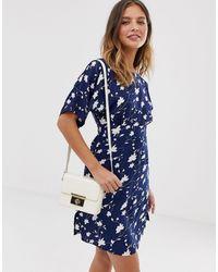 Yumi' Robe droite à imprimé marguerites avec empiècement à la taille - Bleu
