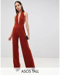 ASOS Asos Design Tall Plunge Neck Halter Plisse Jumpsuit - Red