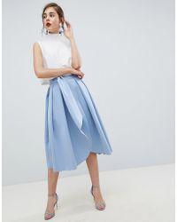 55383d94479e69 ASOS - Scuba Wrap Prom Skirt With Split And Tie Waist - Lyst