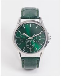 TOPMAN Faux Croc Watch - Black