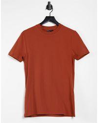 ASOS Camiseta color teja ajustada - Rojo