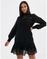 Missguided - Vestito accollato nero all'uncinetto - Lyst