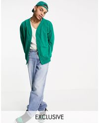 Reclaimed (vintage) - Трикотажный Бомбер Хвойно-зеленого Цвета Из Органического Хлопка Inspired-нейтральный - Lyst