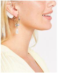 TOPSHOP Hoop Earrings With Printed Pearl Drop - Metallic