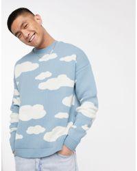 ASOS – Oversized-Strickpullover mit Wolkenmuster - Blau