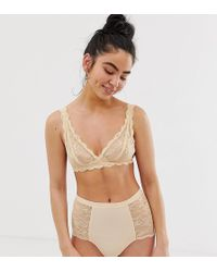 d846a149e8 Lyst - Monki Velvet And Lace Soft Bra in Pink