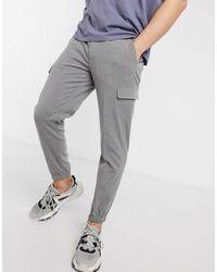 ASOS Pantaloni skinny eleganti grigi con tasche cargo - Grigio