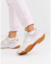 Ellesse Aspio Leather Colourblock Chunky Trainers - White
