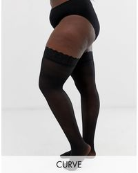 Figleaves 15 Denier Lace Top Stockings - Black