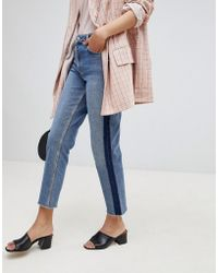 Miss Selfridge | Straight High Rise Patch Jeans | Lyst
