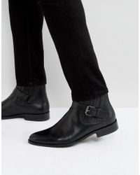House Of Hounds - Adrian Leather Buckle Boots In Black - Lyst